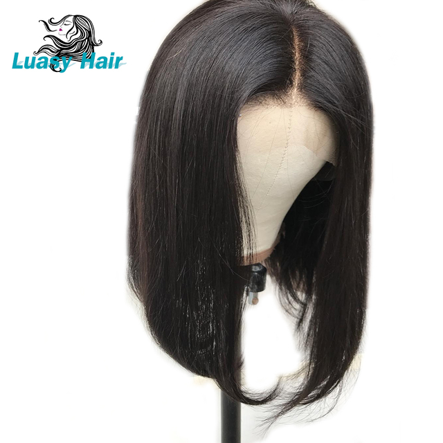 13 4 Short Lace Front Human Hair Wigs For Black Women Brazilian Remy Hair  Bob Wig With Boby Hair Pre Plucked Bleached Knot Luasy f14bff5d59