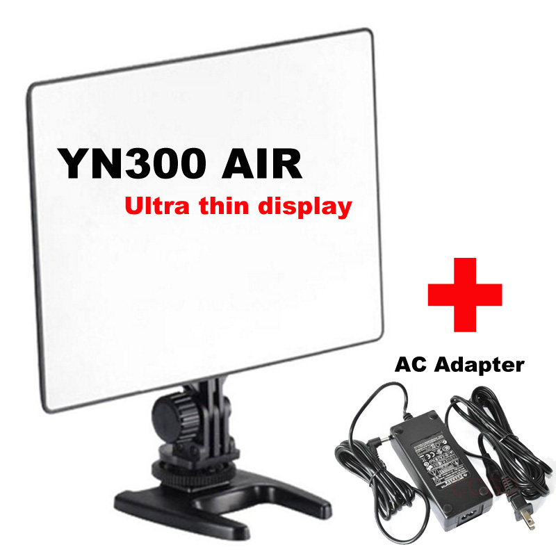 YONGNUO YN300 AIR Pro LED Camera Video Light For Canon Nikon + AC Adapter yongnuo yn300 air 3200k 5500k yn 300 air pro led camera video light with np f550 battery and charger for canon nikon