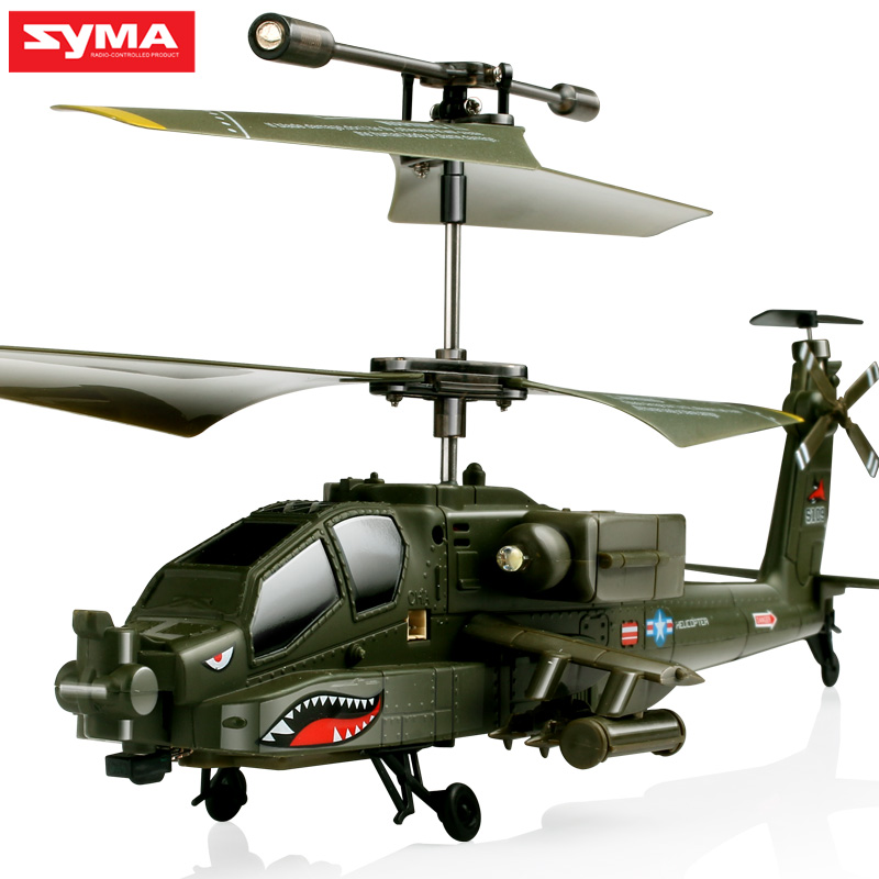Original SYMA S109G 3CH Simulation Helicopter Beast Remote Control Toys RC Helicopter AH-64 Military Model RTF Flying Boys Toy