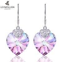 LEPAPILLION Sterling Silver Women Earrings Elegant Amethyst Heart Drop Earrings Fashion Jewelry Crystal Dangle Earring Brincos