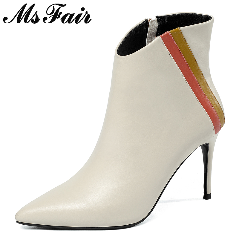 MSFAIR Women Boots Genuine Leather Zipper Ankle Boots Women Shoes Pointed Toe High Heel Boot Shoes Thin Heels Boots For Girl msfair pointed toe super high heel women boots fashion zipper ankle boots women shoes elegant thin heels black khaki boots shoes