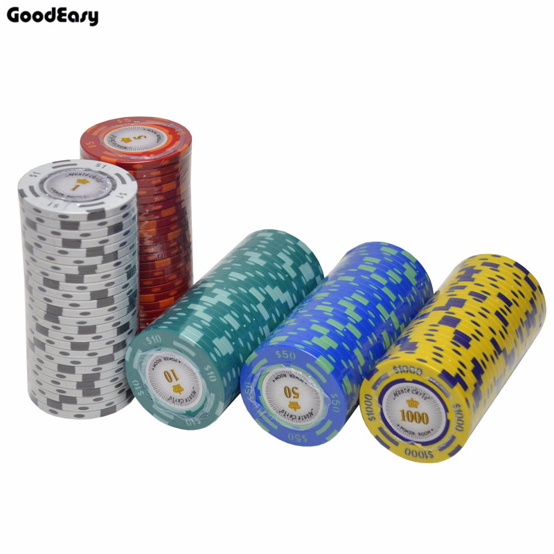 Clay Material Casino Texas Poker Chip Set Poker Metal Coins Dollar Monte Carlo Chips Poker Club Accessories Customizable 3pcs