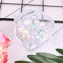 1pc Transparent Can Open Favor Boxes Baby Shower favor souvenirs Square Wedding Candy Box Clear Gift Box(China)