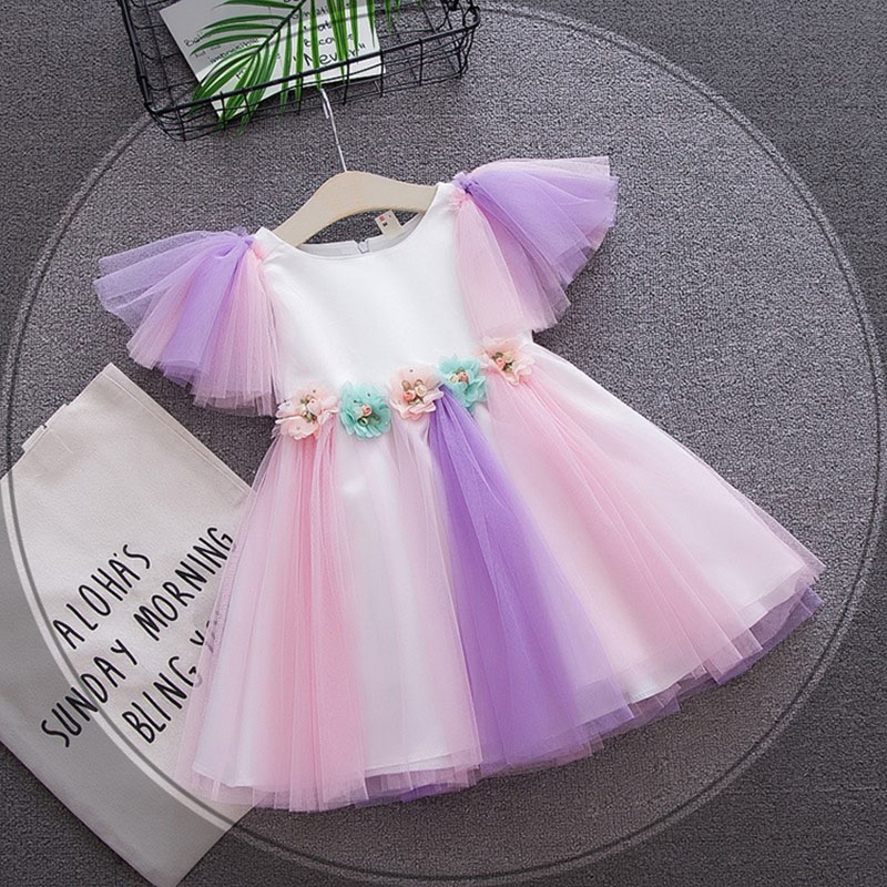 Summer Newborn Infant Baby Girls Dress First Birthday Tutu Dresses toddler Baby Girls cloth Wedding Party Princess Dress Dresses baby infant girl 1 year birthday party tutu dress 0 3 y toddler sleeveless princess wedding flower girls dresses clothing gdr267