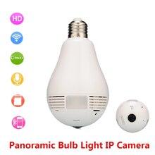 Wifi IP Camera Bulb Light Home Wireless Security 1.3MP 960P Fisheye 360 Degree Panoramic P2P Audio Surveillance Camera