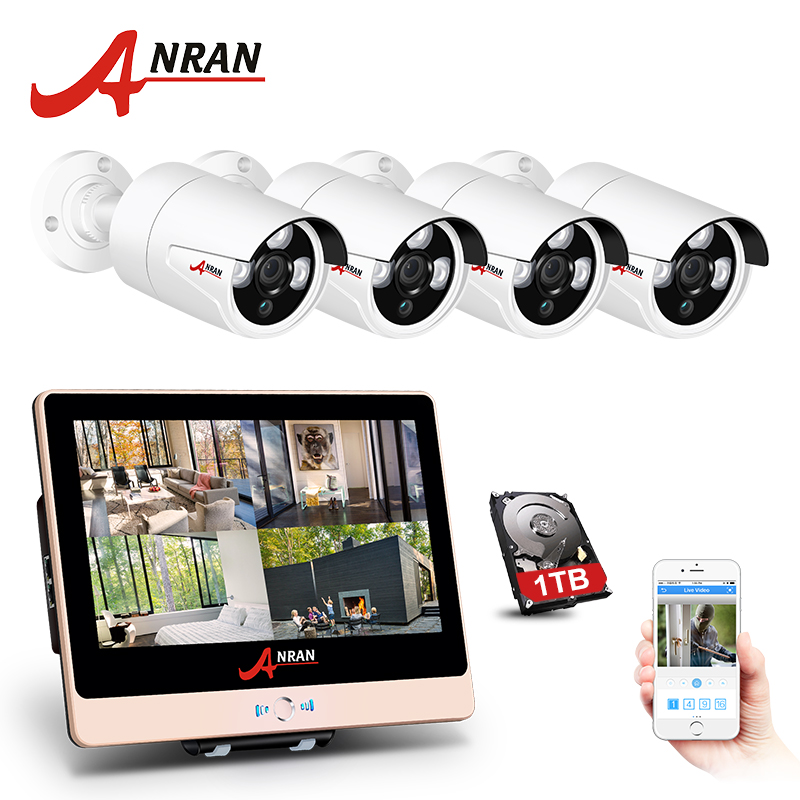 ANRAN P2P 1080P HDMI 4CH POE NVR LCD Screen Array IR Outdoor Waterproof Security IP POE Camera Home CCTV System With Hard Disk
