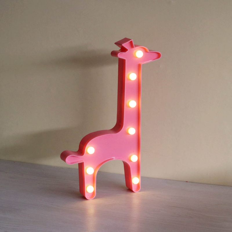 New 2017 Lovely 3D LED Shine Cute Giraffe Night Lamp Marquee Letter Nightlight for Kids Home Decoration Christmas Birthday Gift