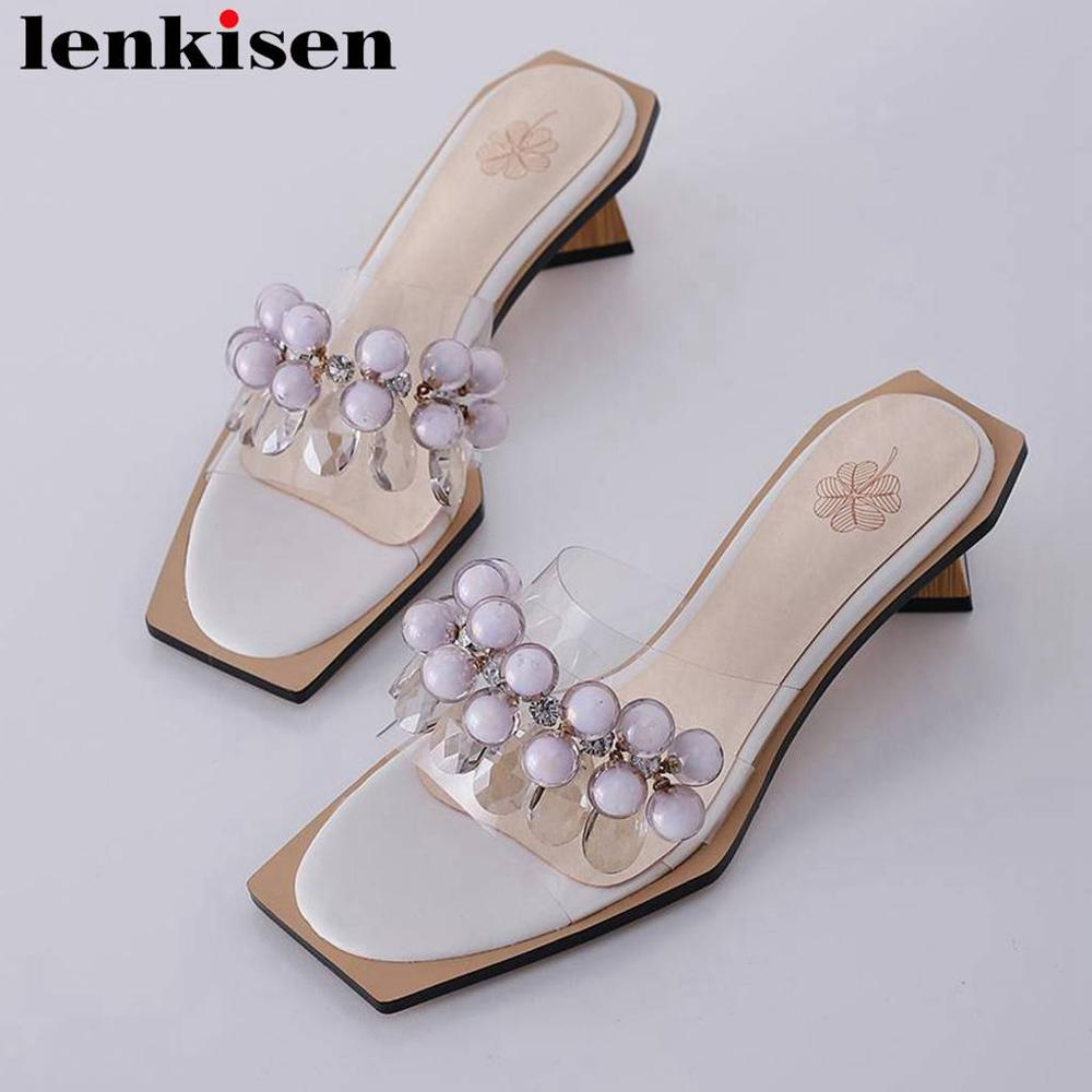 Lenkisen glitter crystals beading decoration peep toe plus size women sandals fashion pvc material med heels daily shoes L69Lenkisen glitter crystals beading decoration peep toe plus size women sandals fashion pvc material med heels daily shoes L69
