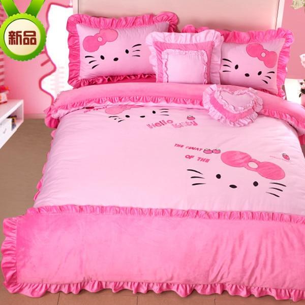 Hello Kitty Sheets Set For Queen Size Cartoon Soft Velvet