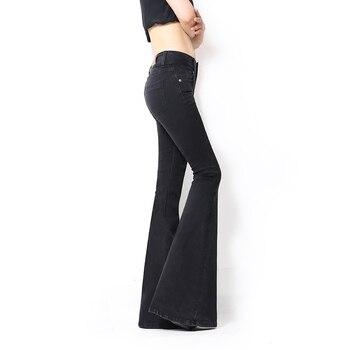Sirena Gran Inferior Ancho Verano Jean Primavera Pantalones Negro De Flare Super Delgada Moda Campana Vaqueros Jeans Señoras Pierna Mujer RjL5A4