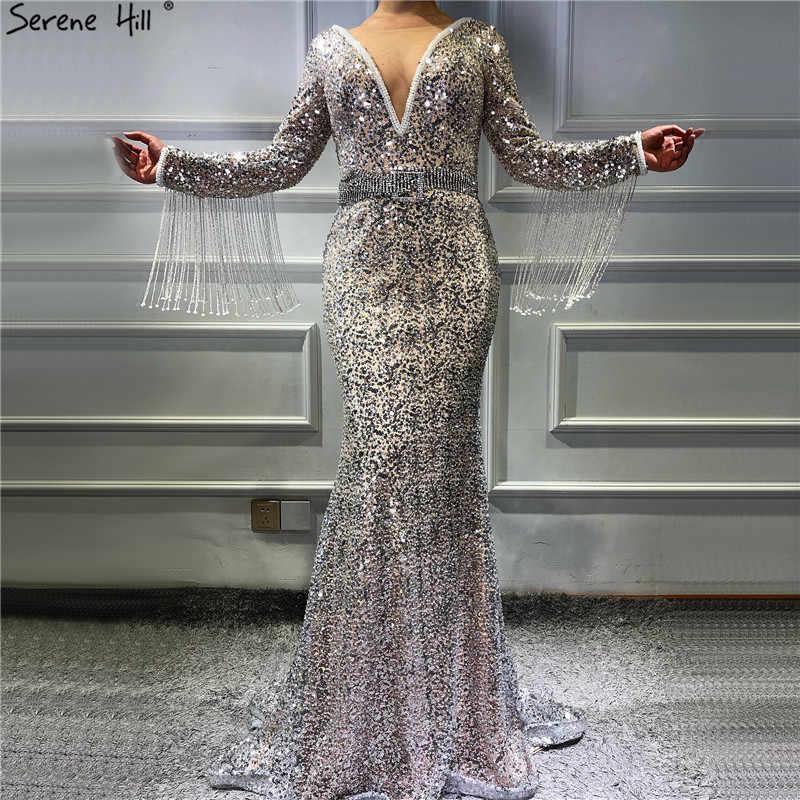 Дубай серебряное v-образный вырез с кисточками вечерние платья, украшенные бисером 2019 длинный рукав роскошное сексуальное вечернее платье Serene Hill LA60770