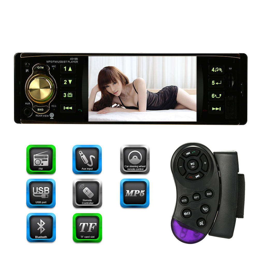 Digital Screen Car Radio MP5 Player Bluetooth Radio Entertainment USB TF FM Aux Input Steering Wheel