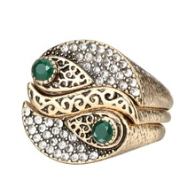 New Arrivals Fashion 3Pcs Bohemia Womens Rings Sets Antique Gold Color Mosaic Crystal Midi Ring Unique Retro Jewelry