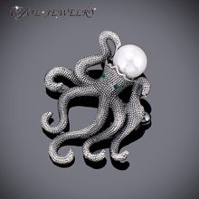 d11b2eadf IYOE Antique Plated Unique Octopus Brooches Retro Style Simulated Pearl  Brooch Pins Ladies Fashion Scarf Jewelry Accessories