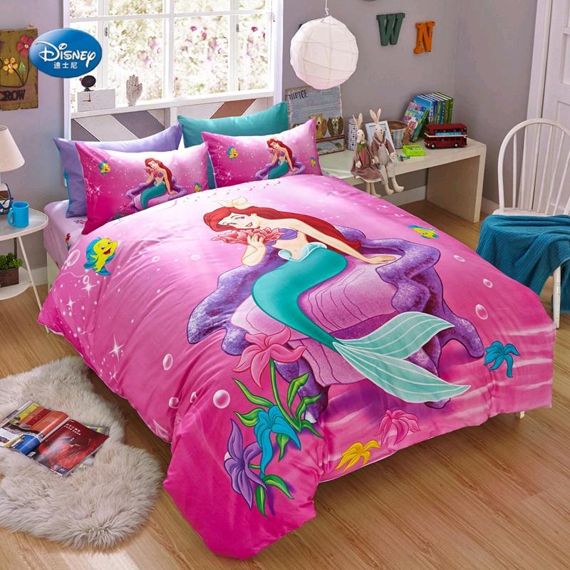 US $67.2 44% OFF|Disney Authentic Mermaid Ariel 3D Bedding Sets Children\'s  Bedroom Decor 100%Cotton Bedsheet Duvet Cover Set 3/4pcs no Filler.-in ...