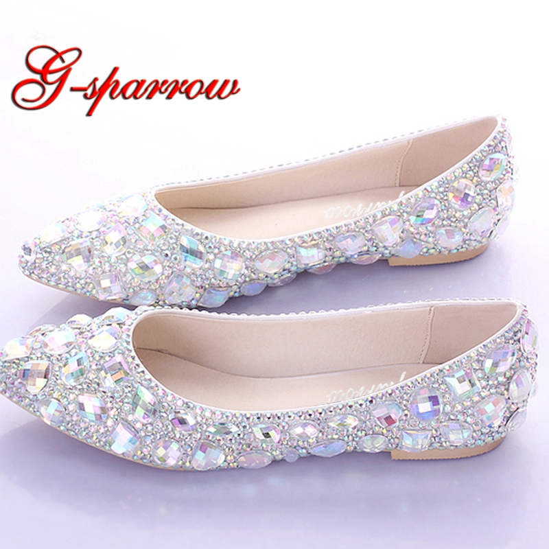 Heels Or Flats For Wedding: Flat Heels Pointed Toe AB Crystal Wedding Shoes Silver