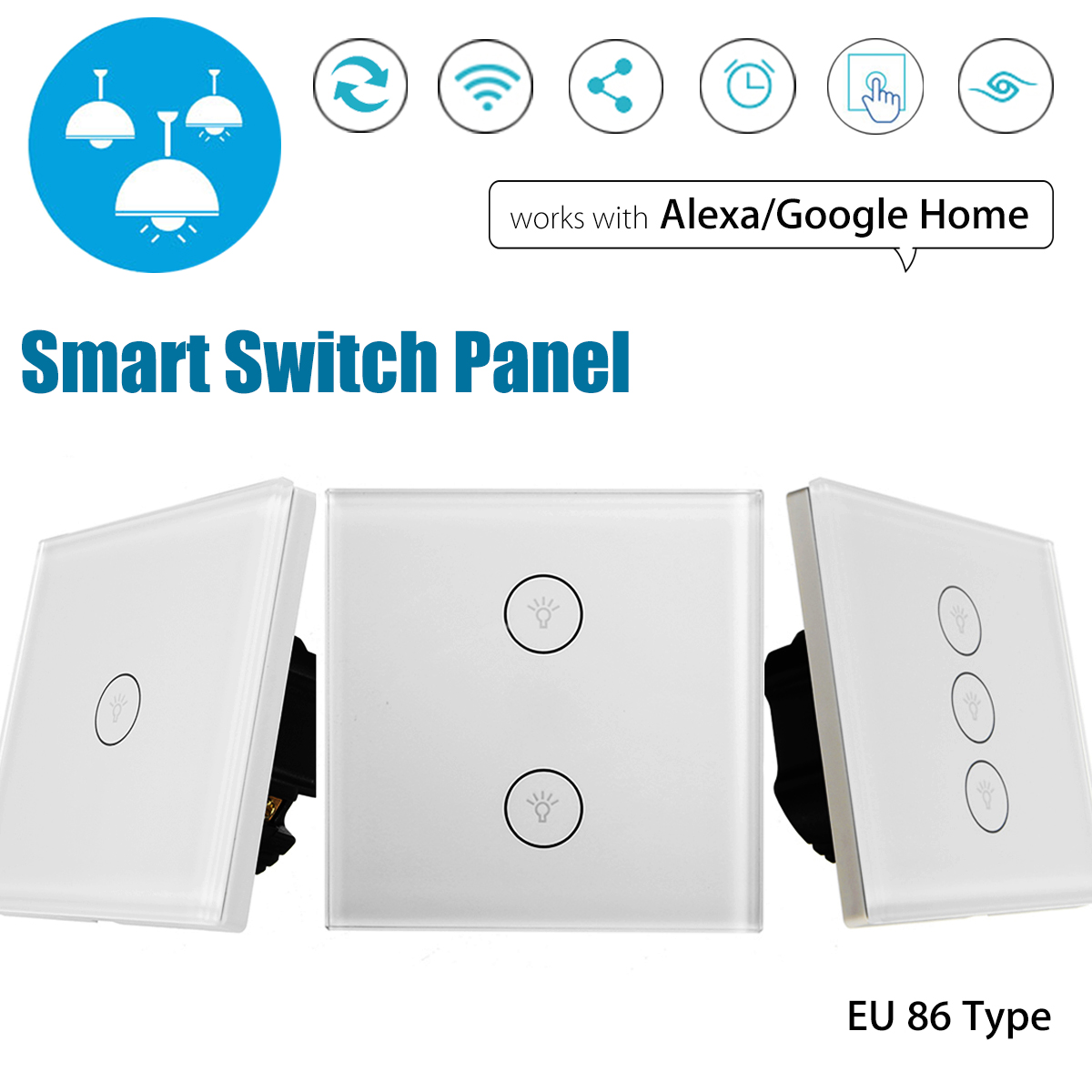 SWILET EU WIFI Smart Touch Switch APP Wireless Remote Touch Control Light Wall Switch Panel Works With Alexa / Google Home jinvoo app us type smart wifi switch 2 gang 1 way touch panel wireless remote wifi light switch works with alexa google home