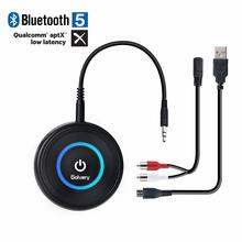 2-IN-1 Latest Bluetooth V5.0 Audio Transmitter Receiver with APTX Low Latency, Wireless Aux Adapter for Home Stereo TV Headphone august mr230 aptx low latency wireless bluetooth 4 2 audio receiver 3 5mm aux bluetooth audio receiver adapter for car speakers
