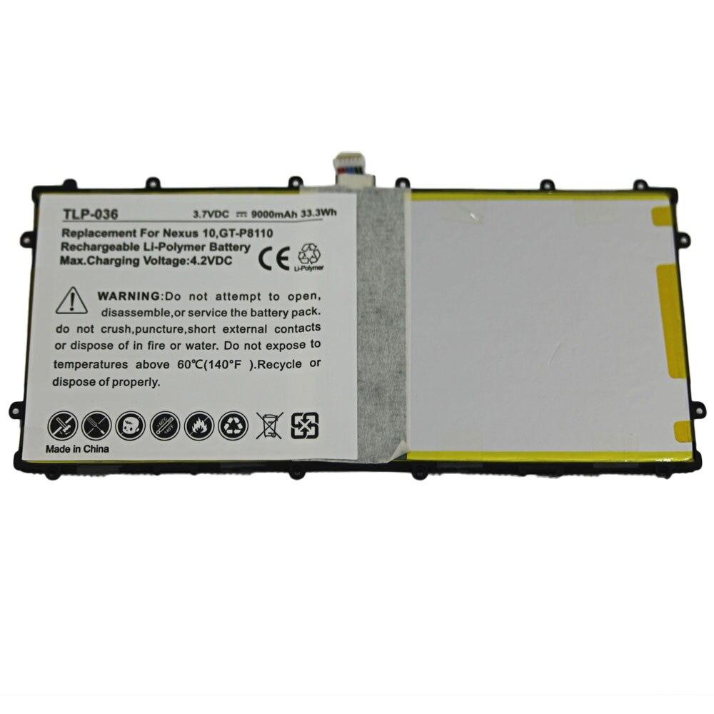 5 unids/lote 9000mAh Tablet batería para Samsung Google Nexus 10 GT-P8110 HA32ARB SP3496A8H P8110 baterías