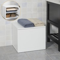 SoBuy FSR46 W, Multi purpose Bathroom Storage Unit Storage Bench Chest Cabinet