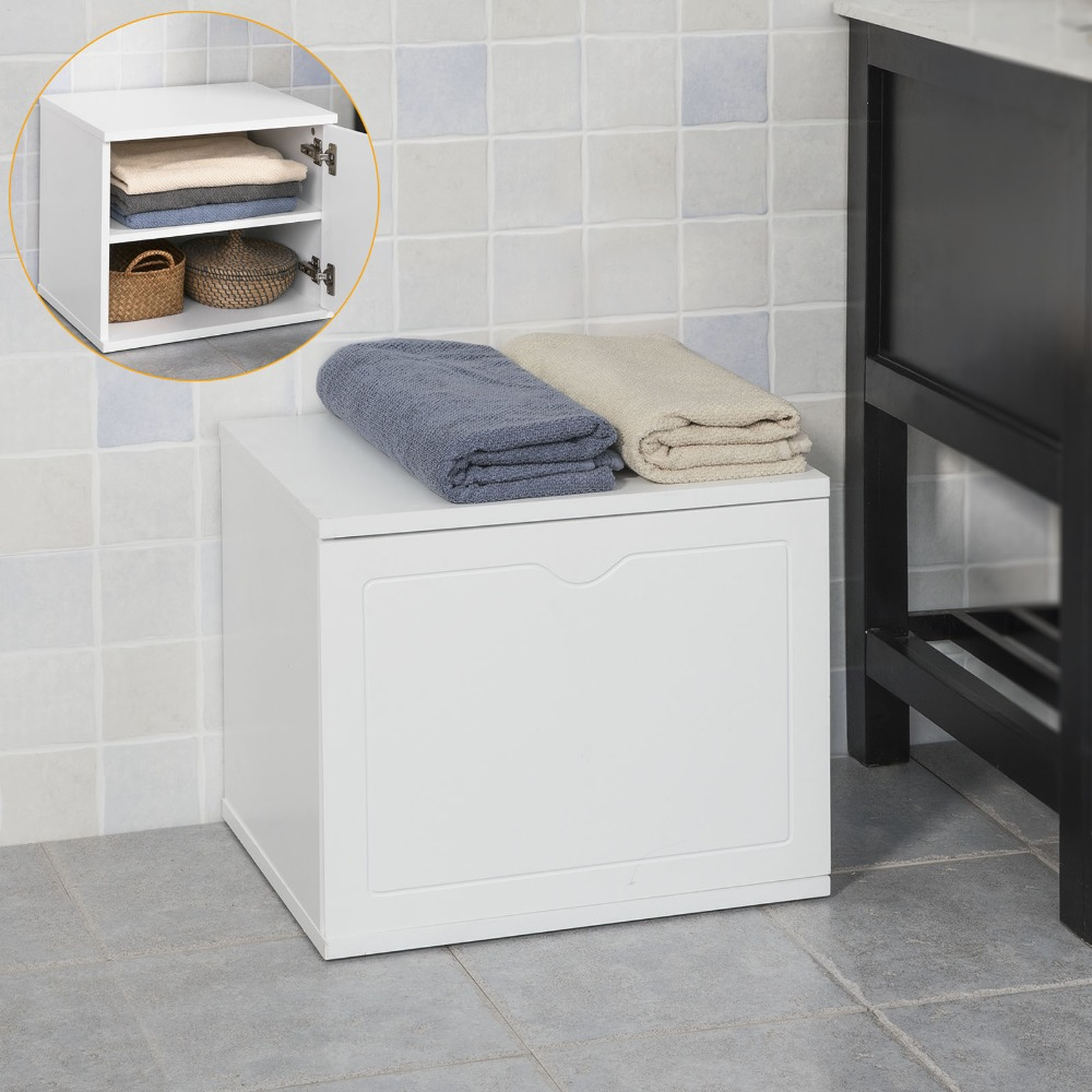 SoBuy FSR46-W, Multi-purpose Bathroom Storage Unit Storage Bench Chest Cabinet