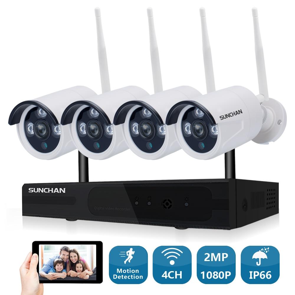 SUNCHAN 4CH Tableau HD Home WiFi Sans Fil Système de Caméra de Sécurité DVR Kit 1080 p CCTV WIFI En Plein Air Full HD NVR kit de Surveillance