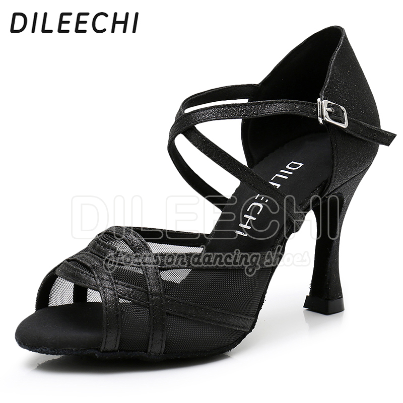 Image 5 - DILEECHI Latin dance shoes Women Flash Satin Gold Silver Black wide thin high heel 9cm Salsa Performance Ballroom dancing shoes-in Dance shoes from Sports & Entertainment