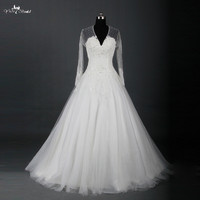 Elegant Long Sleeve Lace Wedding Dresses A Line V Neck See Through Back Vintage Lace Sweep