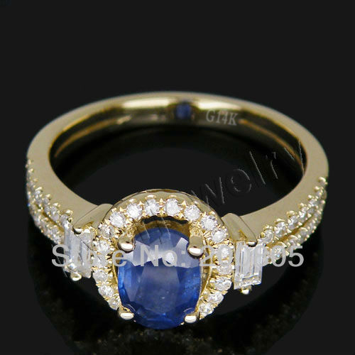 Vintage Oval 5x7mm 14Kt Yellow Gold Diamond Engagement Sapphire Ring G090795 new vintage 14kt rose gold diamond kunzite ring wedding ring oval 10x17mm r00324