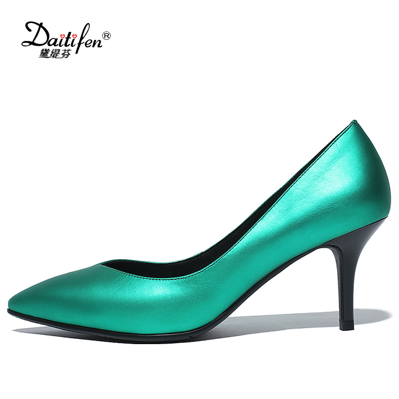 Daitifen spring autumn new arrive women pumps fashion pointed toe genuine leather single shoes elegant ladies office shoes new 2017 spring summer women shoes pointed toe high quality brand fashion womens flats ladies plus size 41 sweet flock t179
