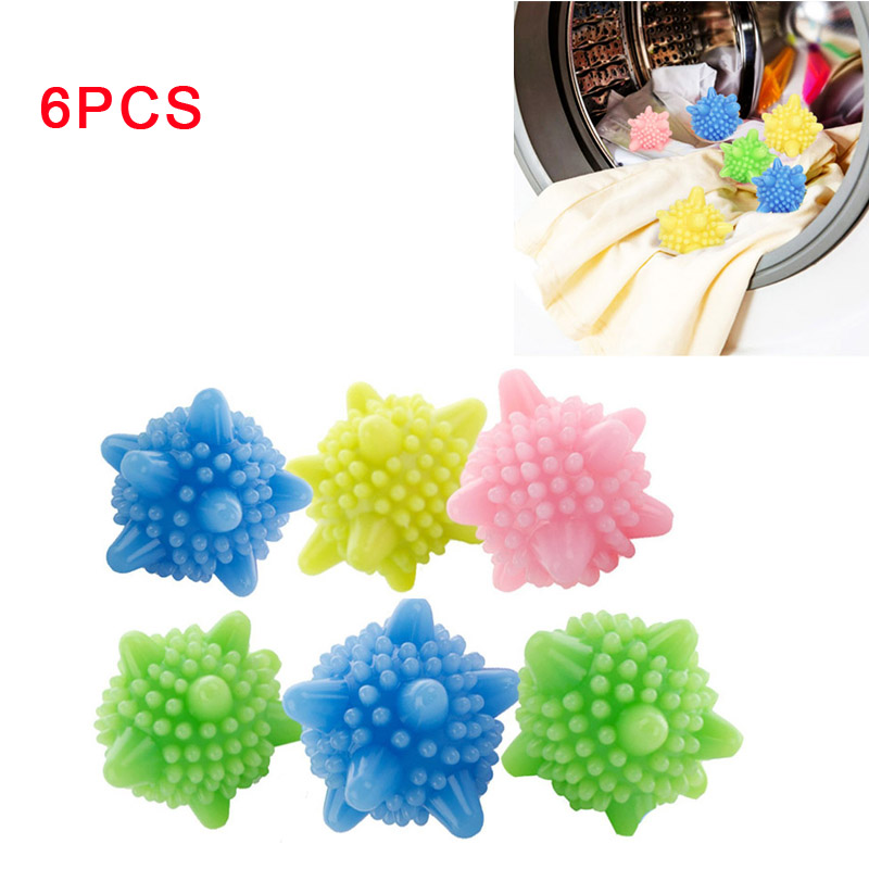 6pcs Colored Detergent Winding Preventing Cleaning Cleaner Magic Laundry Washing Ball Wash Laundry Ball ...