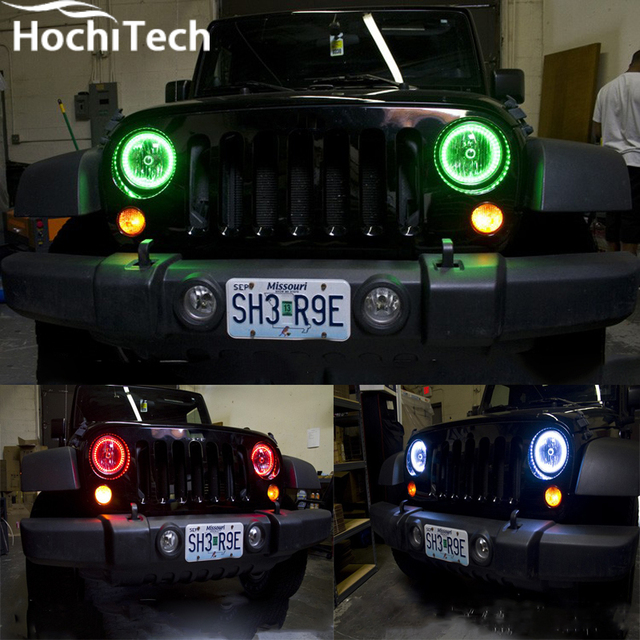 For Jeep Wrangler 2007 2016 Led Perimeter Headlight Rings Halo Multi Color Rgb Angel Demon Eyes