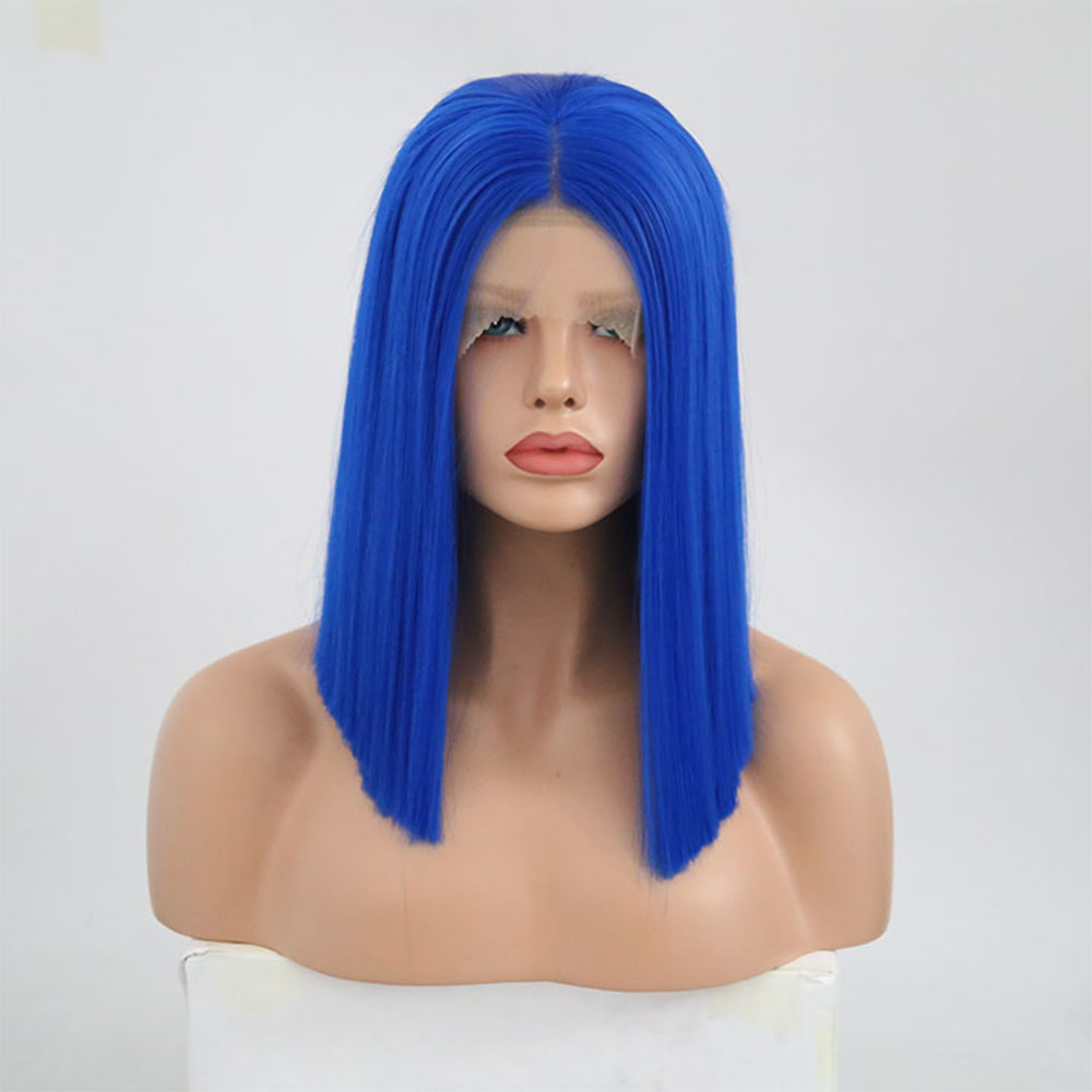 Charisma 12Inch Straight Short Bob Blue Hair Color Synthetic Lace Front Wigs Heat Resistant Fiber For