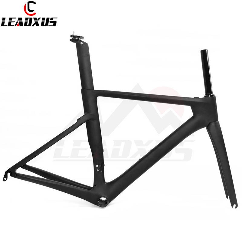 LEADXUS CLW125 T800 Carbon Fiber Road Bike Frame+Fork+Seat Post+Clamp+Headset+BB30 Or BB68 Adapter Black Matte/Black Glossy