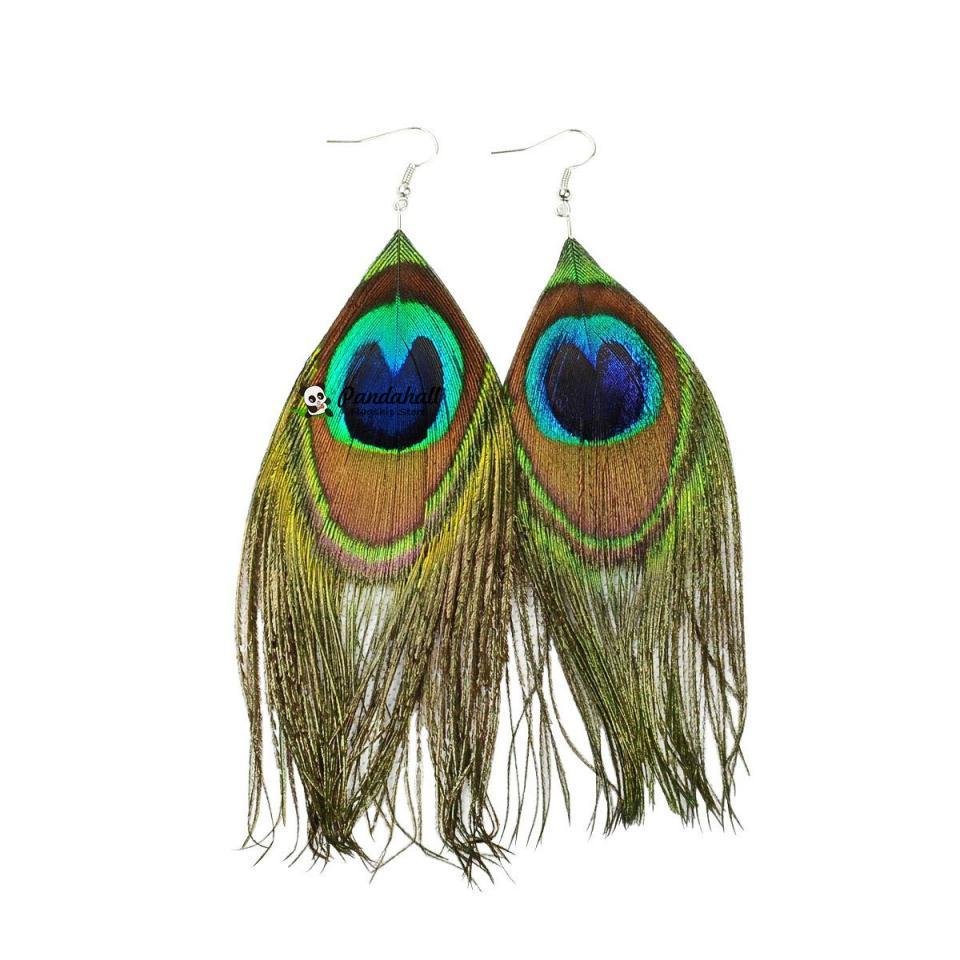 2019 Fashion Peacock Feather Dangle Boho Ականջօղեր կանանց զարդերի համար Mardi Gras Thread Carnival Holiday Theme Christmas Decor