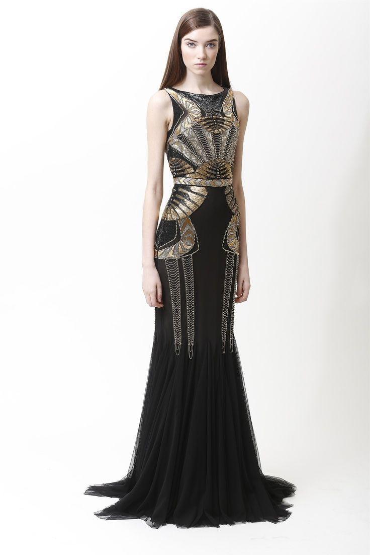 1920 s Great Gatsby Kleid Stickerei Langes Grecian Kleid partei ...