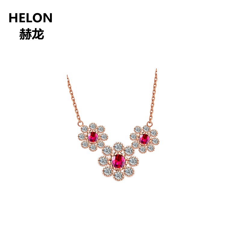 0.24ct Natural Ruby & Natural Diamonds Pendant Necklace Solid 18k Rose Gold Flower Women Pendant