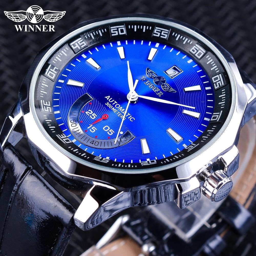 Winner Watches Irregular Shape Case Blue Dial Sport Clock Calendar Display Men s font b Mechanical