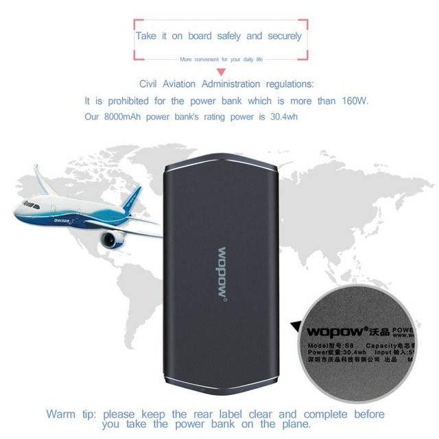 WOPOW 8000mAh Power Bank Dual USB Portable charge Powerbank Ultra-thin External Battery For iPhone Xiaomi Tablet PC power batter