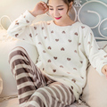 2017 Women Sleep Lounge Home Long Sleeve O-neck Sweatshirts Long Pants Cartoon Winter Warm Fleece Soft Pajama Sets Q5223