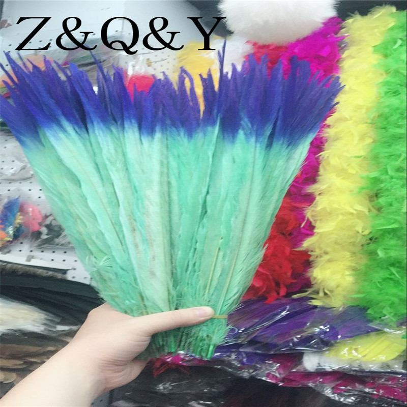 Z&Q&Y 50 natural 40-45CM (16-18 inches) pheasant feather dyed two-tone mint green plus Bao Lan DIY clothing stage makeup ...