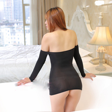 Sexy Long Sleeve Ice Silk Transparent Mini Dress
