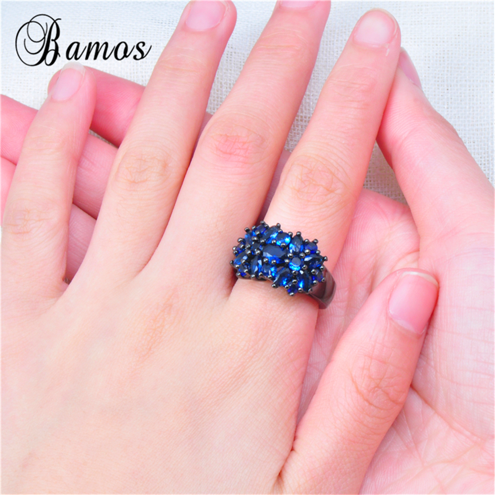Bamos Fashion Women Blue Ring High Quality Black Gold Filled Jewelry ...