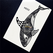 1PC Black Ink Henna Whale Dolphin Temporary Tattoo Sticker Nontoxic Women Body Art Mehndi Decals Waterproof Tattoo Stickers HH33
