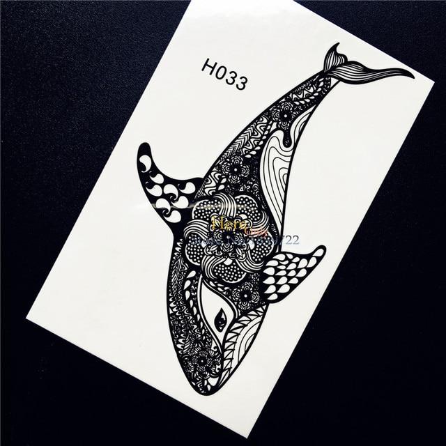 1PC Black Ink Henna Whale Dolphin Temporary Tattoo Sticker Nontoxic Women Body Art Mehndi Decals Waterproof Tattoo Stickers HH33