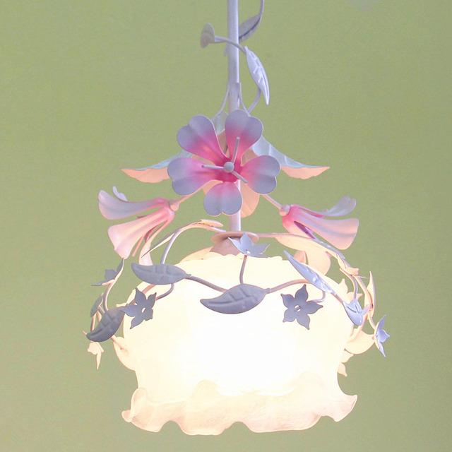 Estilo nórdico 110 v-220 v Iluminação Pendente de Moda Iluminação Doméstica Sala de estar E27 Bonito Flores Única Cabeça Forjado ferro Levou pingente