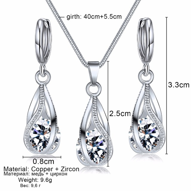 Entwined Drop Shape Zirconia Pendant Necklace With Earrings
