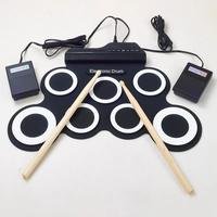 Yuker Neue Professionelle 7 Pads Tragbare Digitale USB Roll up Faltbare Silikon Elektronische Drum Pad Kit Mit DrumSticks Fußpedal