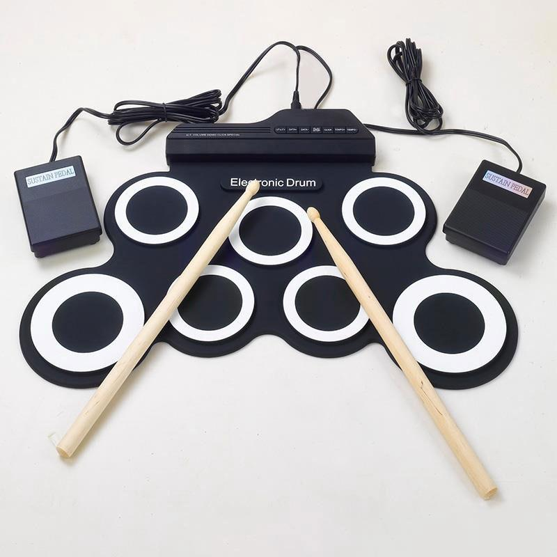 Yuker New Professional 7 Pads Portable Digital USB Roll up Foldable Silicone Electronic Drum Pad Kit With DrumSticks Foot Pedal