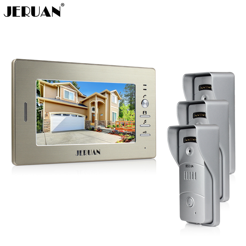 JERUAN Home 7`` TFT video door phone intercom system 1 monitor + waterproof metal pinhole Cameras open the door In Stock монд л здоровье голоса певца